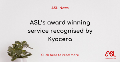 ASL's award winning service recognised by Kyocera